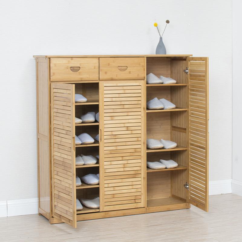 门厅实木楠竹玄关鞋架鞋柜简约现代简易柜多功能经济型多层储物柜
