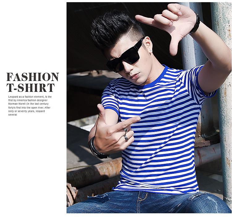 Biển linh hồn áo sơ mi nam ngắn tay t-shirt hải quân tùy chỉnh phong cách Slim cotton vòng cổ nửa tay áo màu xanh và trắng sọc những người yêu thích mùa hè