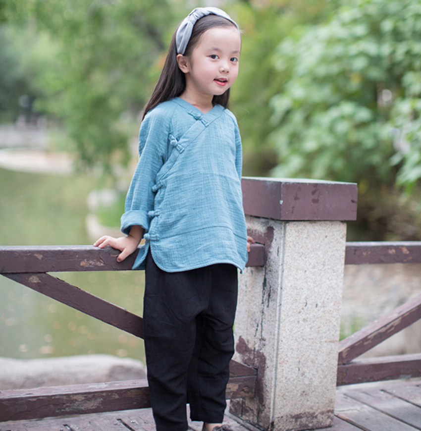 d576e755368f Chinese style children s clothing boys summer hanbok oblique Chinese girls  cotton linen shirt children Tang suit National Wind Jacket