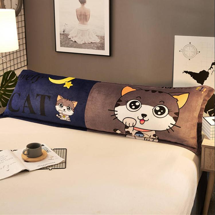 法兰绒枕套情侣枕珊瑚绒加长大枕芯长款冬季卡通双人枕头