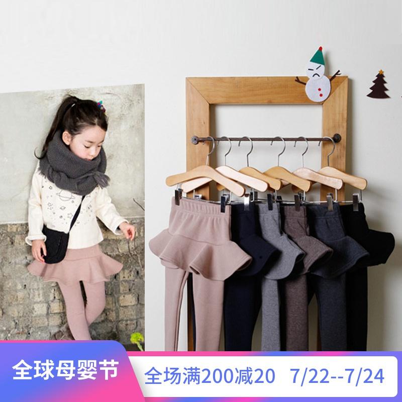 儿童裙裤女加绒加厚秋冬季韩版纯色高腰荷叶边假两件女童打底裤裙