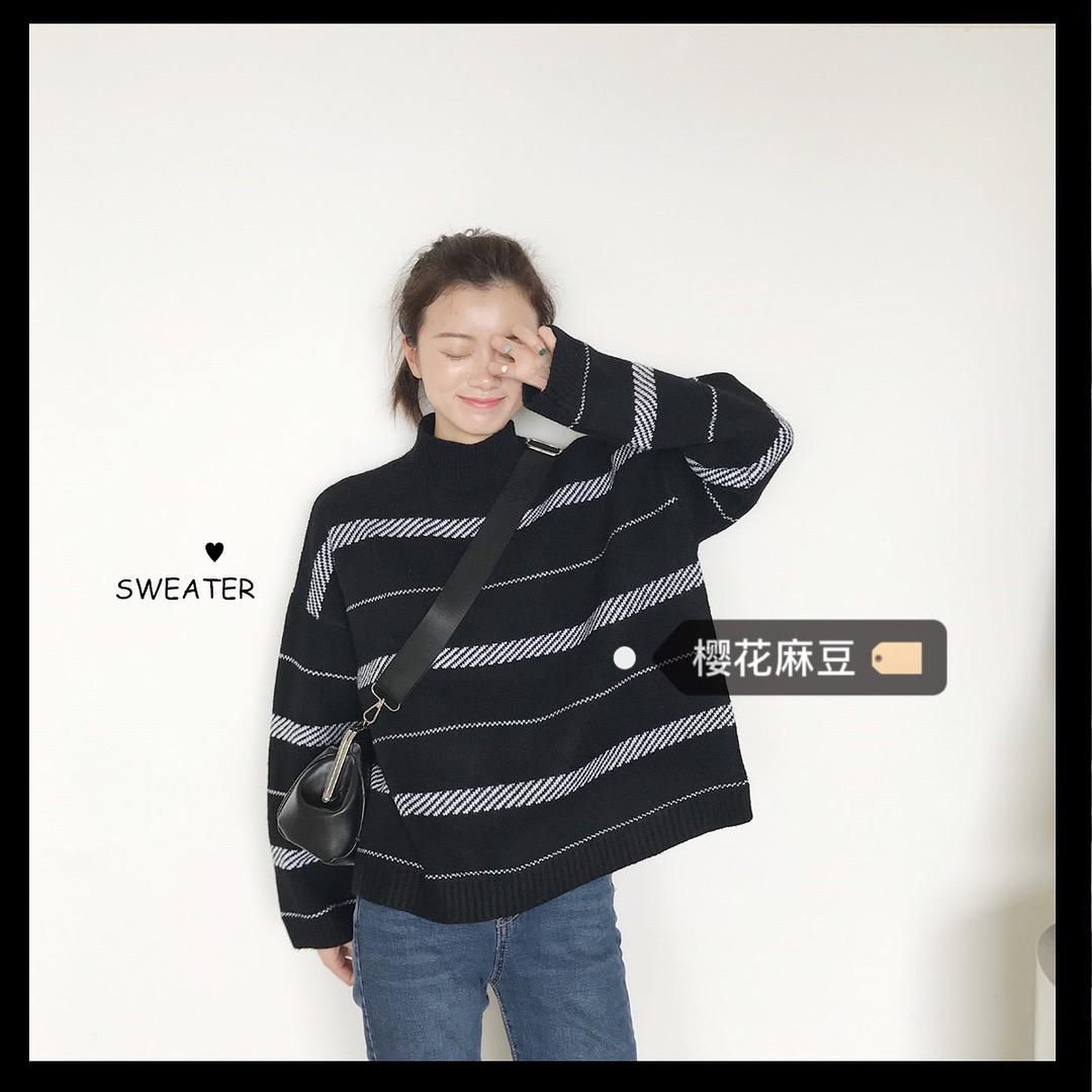 ulzzang韩国INS同款长袖毛衣套头半高领条纹学生宽松针织衫女潮