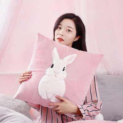 Nordic ins wind pillow net red bay window cushion cute car pillow living room bed rabbit pillow sofa pillow