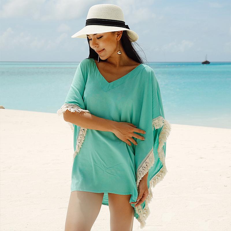 @OM новый синий зеленый кисточка небольшой Cheongju новый бикини рабочий халат иностранных взять песчаный пляж купальный костюм женщина затенение пальто