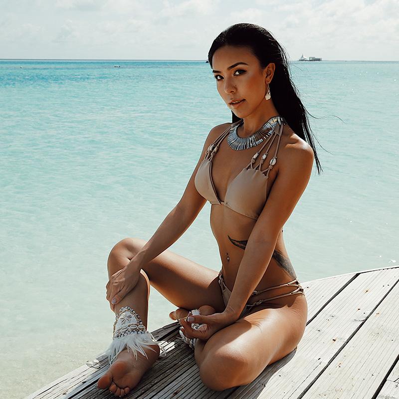 @OM новый приморский праздник жемчужина сексуальный оболочка трехточечный песчаный пляж сексуальный трещина купальный костюм женщина бикини