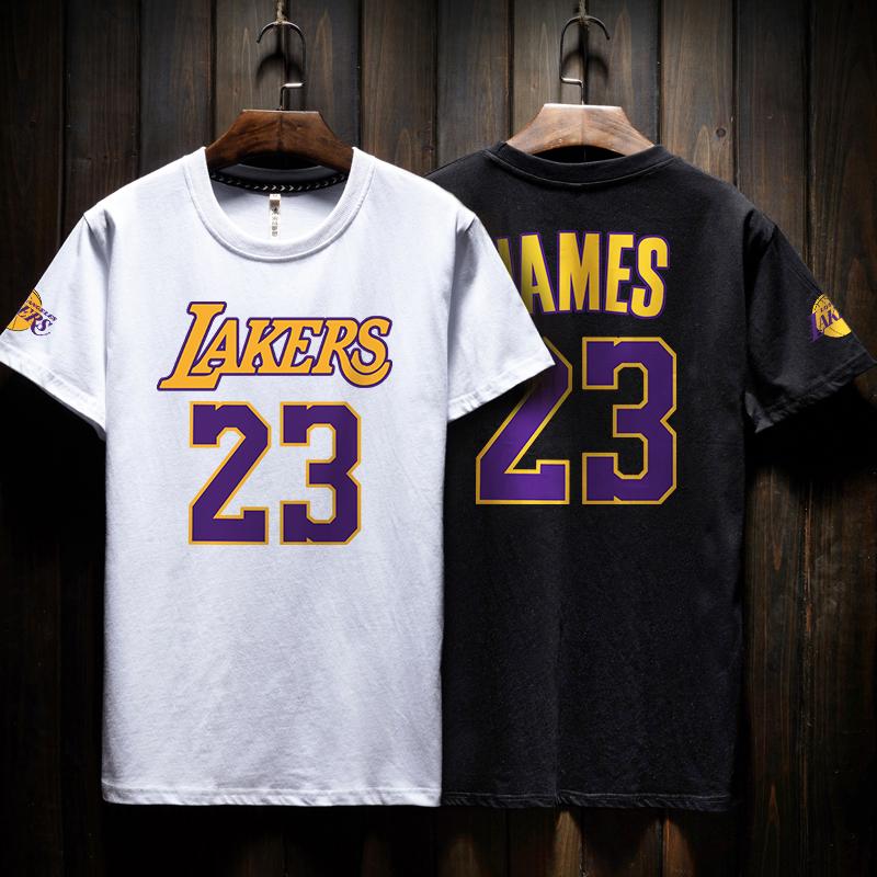 恩施耐克湖人球衣23詹姆斯街头篮球训练服短袖t恤男潮流科比嘻哈