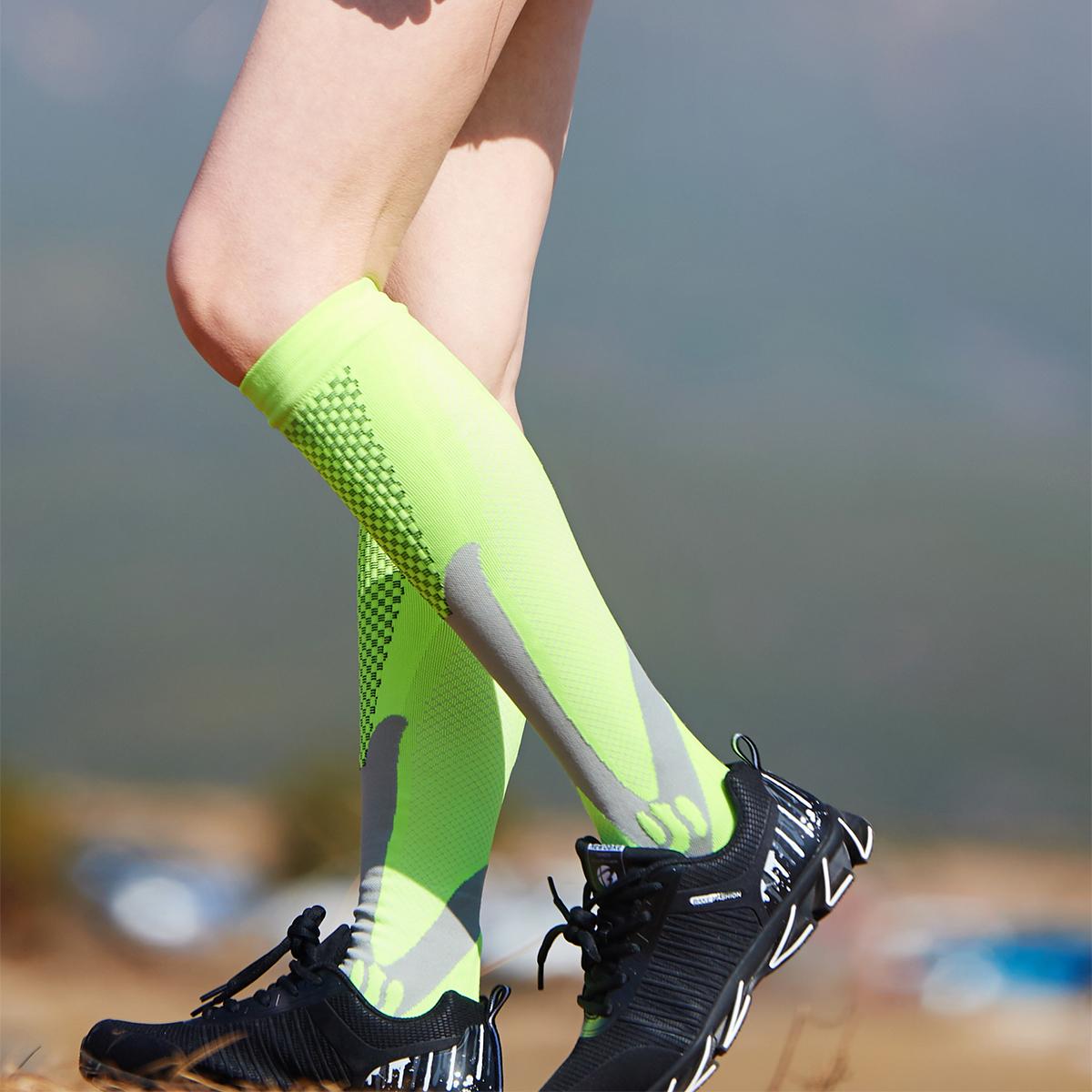 北京专业跑步健身男女马拉松运动中高长筒森林肌能压缩小腿袜子式