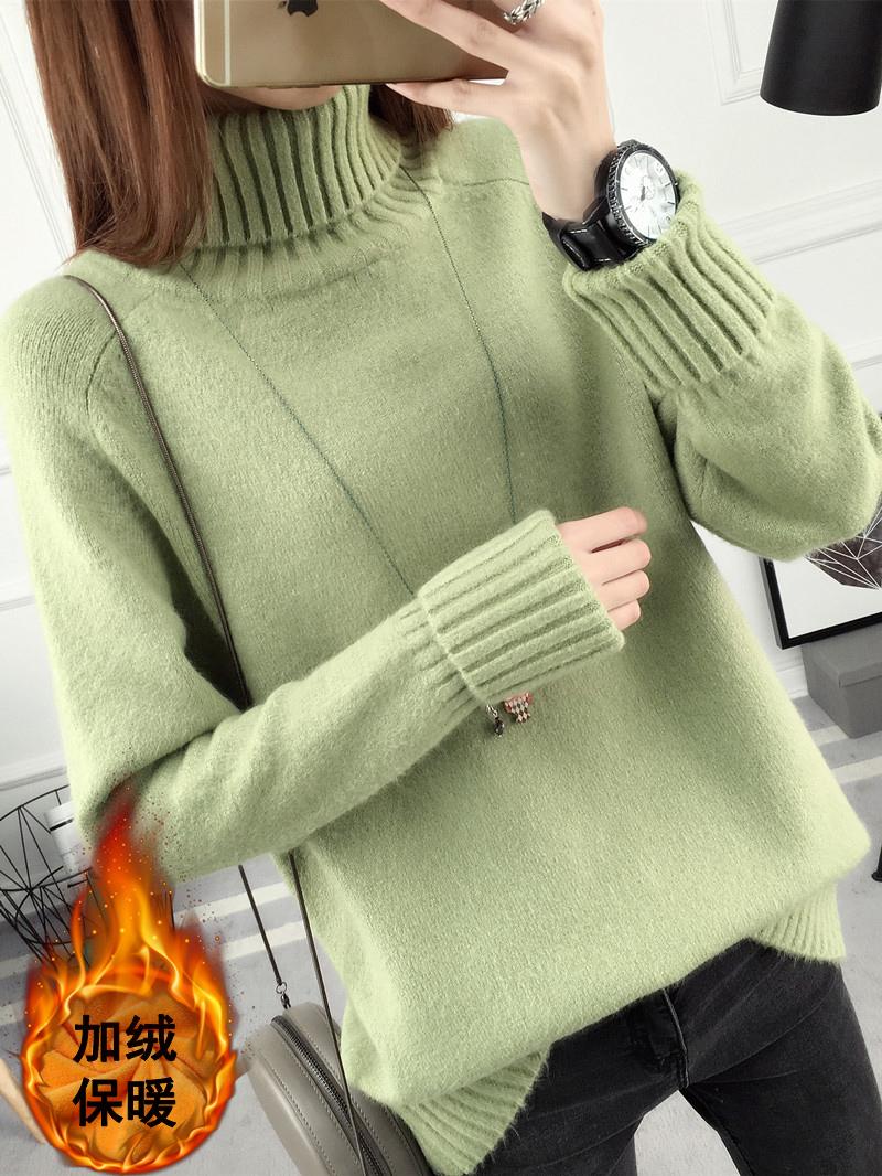 青少年女大童女孩初中少学生秋冬装加厚加绒毛衣12-14-15-16-18岁