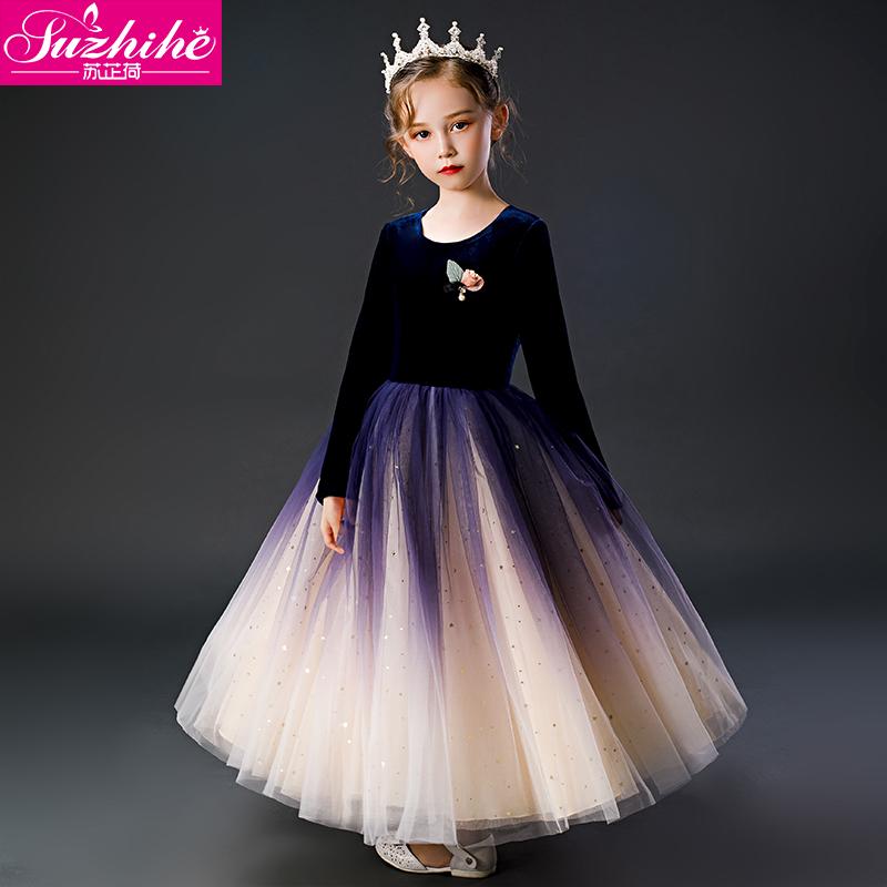 Váy bé gái mùa xuân và mùa thu mới cho bé gái Váy lưới dài tay phiên bản Hàn Quốc của váy công chúa cực kỳ hiện đại cho bé - Váy