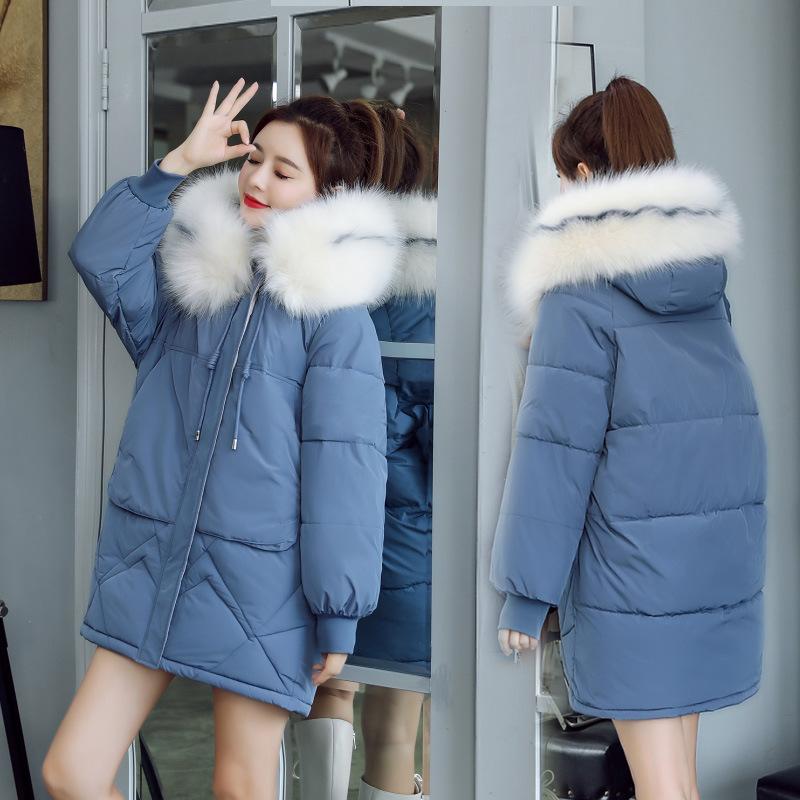 羽绒外套棉衣时尚服面包女宽松中长款大毛领韩版加厚棉袄棉服外套