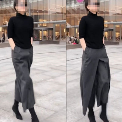 Spring gray wide legs pants female autumn and winter 2020 new high waist nine pants vertical straight loose pants hipster women's pants