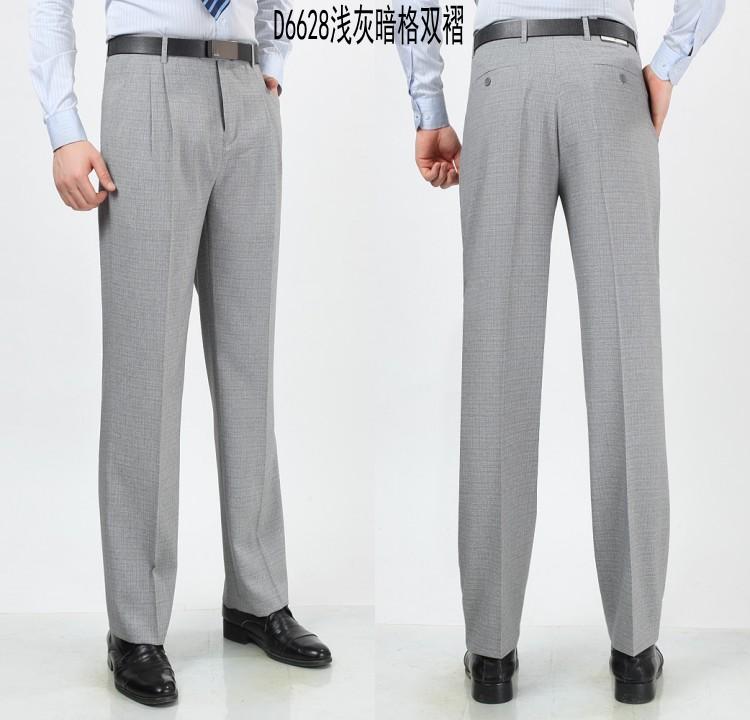 Kangaroo quần nam cao eo phù hợp với quần người đàn ông trung niên của quần linen lỏng đôi nếp gấp miễn phí ủi phù hợp với quần của nam giới