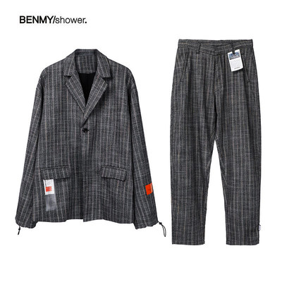 BenmyShower national tide retro grid color weaving suit jacket tide brand hip hop men and women couple set loose