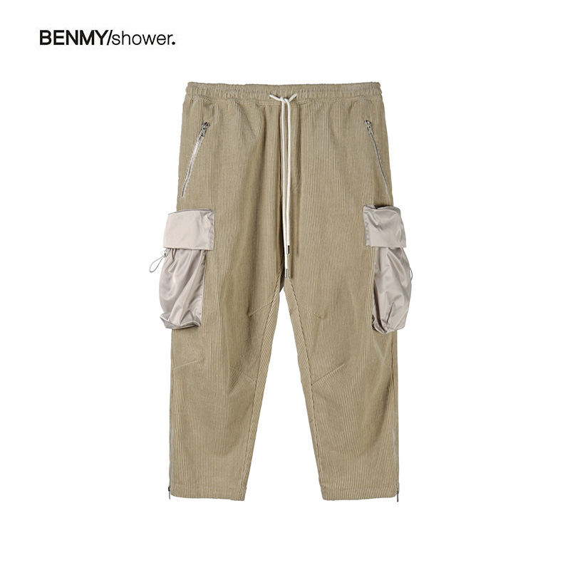 BENMYSHOWER NATIONAL TIDE WICK VELVET PANTS MEN'S LARGE POCKET LOOSE WIDE-LEGGED PANTS TIDE BRAND FUNCTION SPRING AND AUTUMN