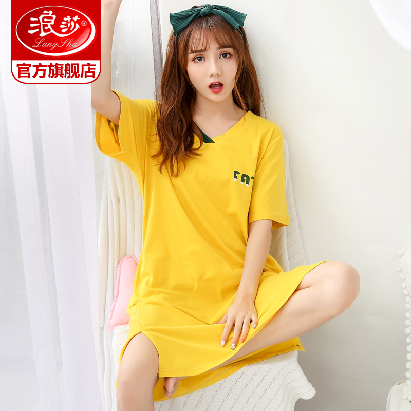 Langsha nightdress female summer cotton short-sleeved pajamas female summer sweet cute dress cotton thin section of home clothes