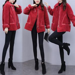 YF17102# 皮毛一体外套女秋冬新款羊剪绒大衣年轻款皮草颗粒羊毛上衣