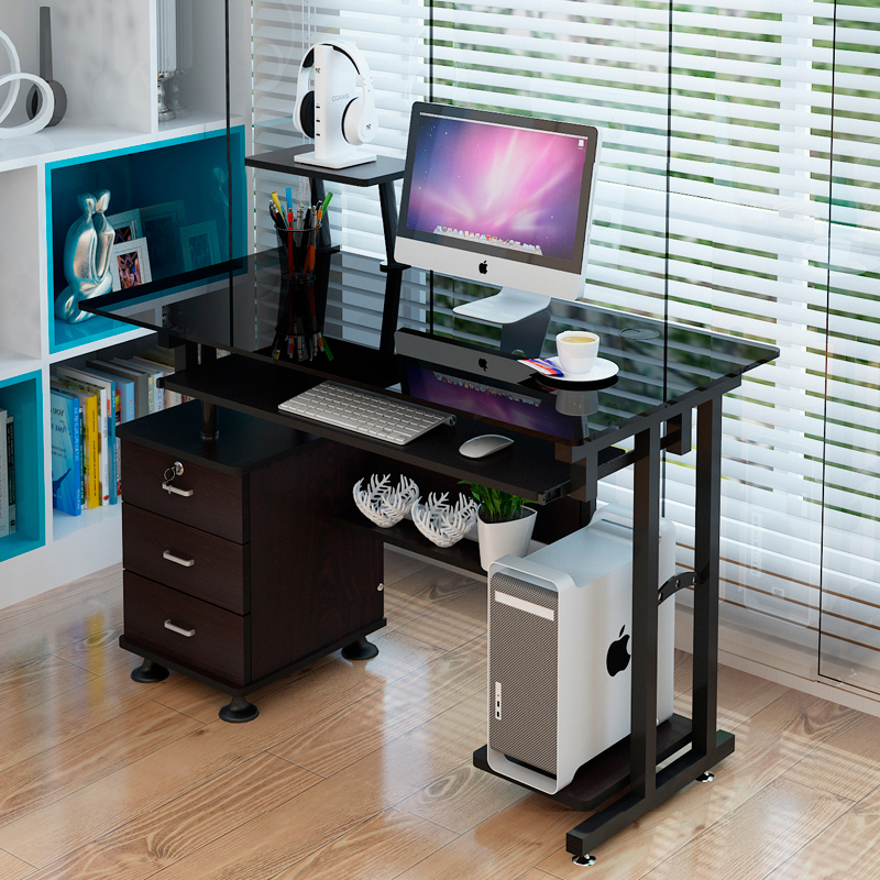 pretty nice 663c8 77229 One meter with three tempered glass computer desk wooden multifunctional  computer desk desk desk desk drawer