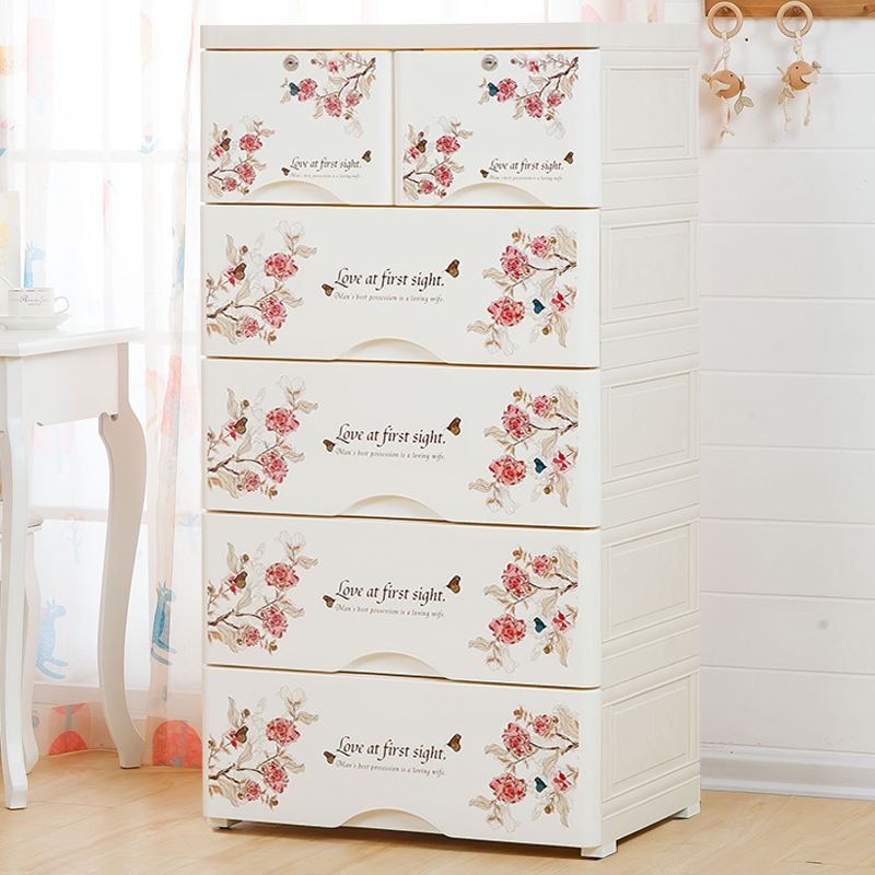 Drawer Type Storage Cabinet Plastic Chest Of Drawers Baby Wardrobe 5 Layers