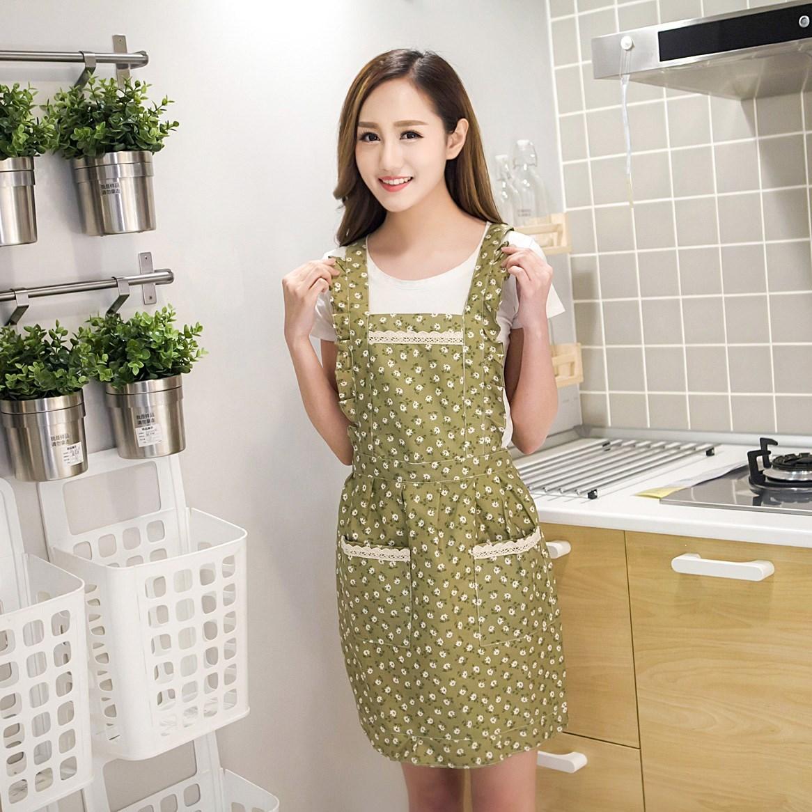 乐淘韩式围裙袖套时尚房防水半身韩版家用厨女士围裙背心式儿童厨