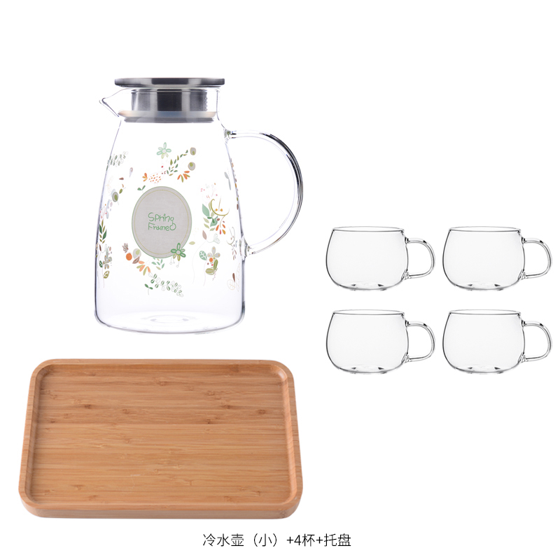 SMALL MU WIND KETTLE 1.5L+4* LARGE CUP + BAMBOO PLATE
