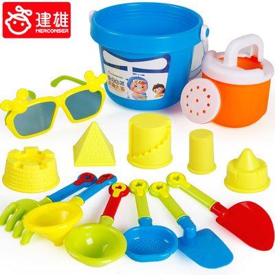Children's Beach Toys Set Sea Castle Hourglass Shovel and Barrel Baby Playing Sand Digs Sand Deminator Tools