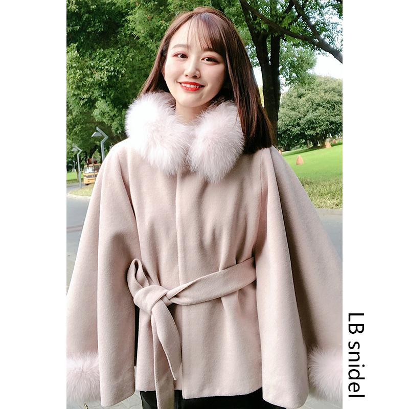 LB snidel mùa thu và mùa đông tính khí cáo lông cổ áo len áo khoác bat áo ngắn cape áo khoác phụ nữ - Accentuated eo áo