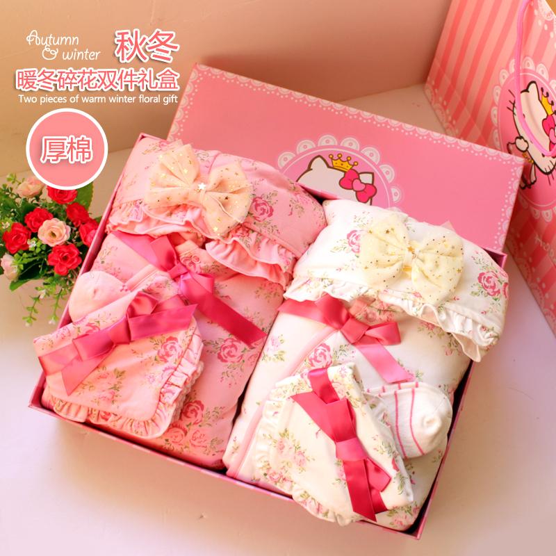 Mùa đông Nhật Bản nhỏ phù hợp với hoa leo núi đôi quần áo bé tặng quà tặng cho bé gái sơ sinh trăng tròn quà tặng trăm ngày - Bộ quà tặng em bé