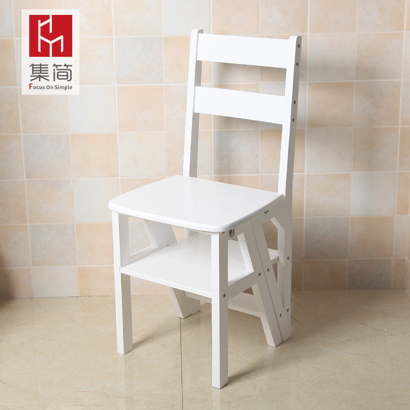 Solid Wood Household Multi Function Folding Ladder Chair Indoor Mobile  Climbing Ladder Dual Use Four Step ...