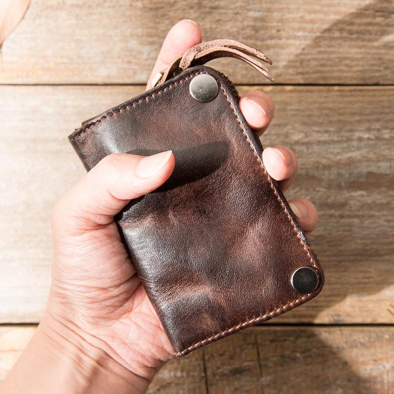 汽车牛皮钥匙包大容量植鞣真皮零钱包女卡包头层牛皮男士钥匙包男