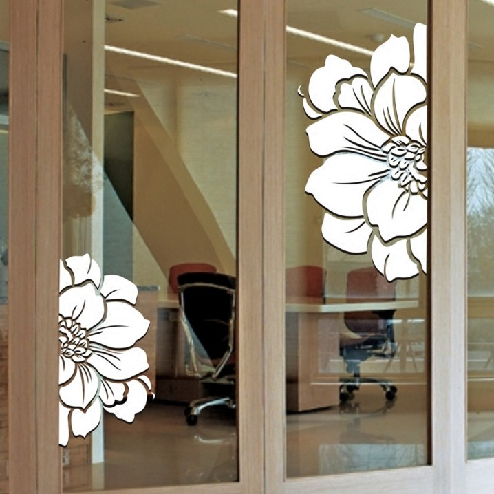 Personality Flowers Creative Window Cabinet Glass Door Decals