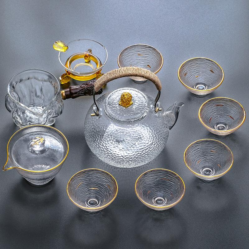 玻璃茶具套装家用简约透明整套功夫茶具耐高温泡茶壶公道杯茶杯