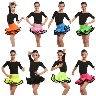 Latin Dance Dress Girl Dance Dress Performance Dress Children Latin Dance Skirt Short Sleeve Gongfu Performance Dress New