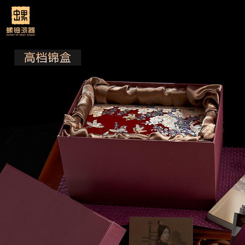 厂销螺钿漆器首饰盒结婚首饰盒木质饰品收纳珠宝盒欧式带锁情人节