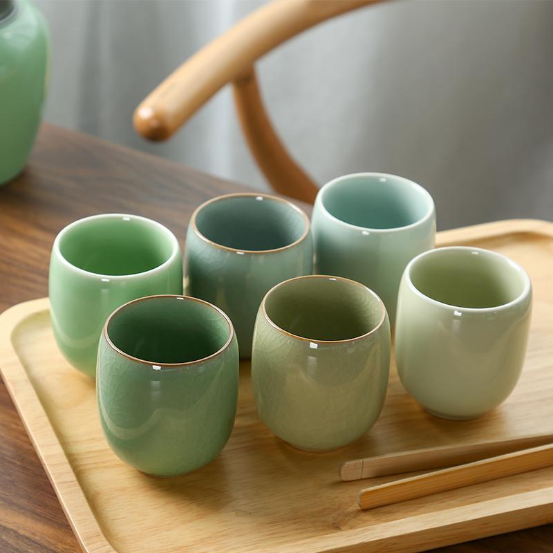 陶瓷小哥窑青瓷汝窑水杯六色杯主人开片功夫茶具茶杯龙泉茶杯杯