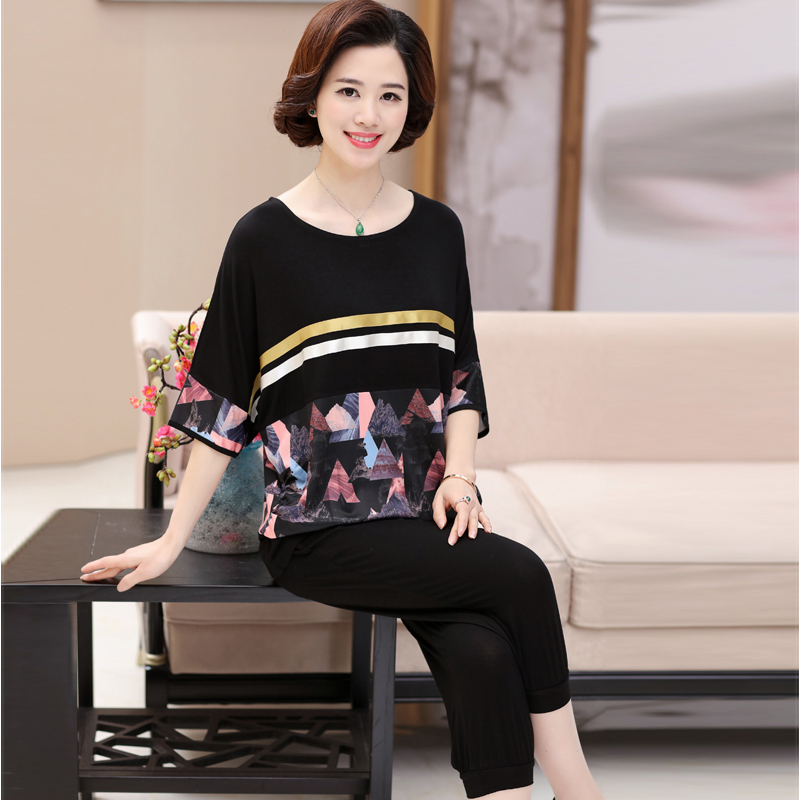 ab492b199a88 Fat mother loaded summer shirt Women s middle-aged fashion 40-50 years old  two-piece suit large size short-sleeved T-shirt - BuyChinaFrom.com - Buy  China ...