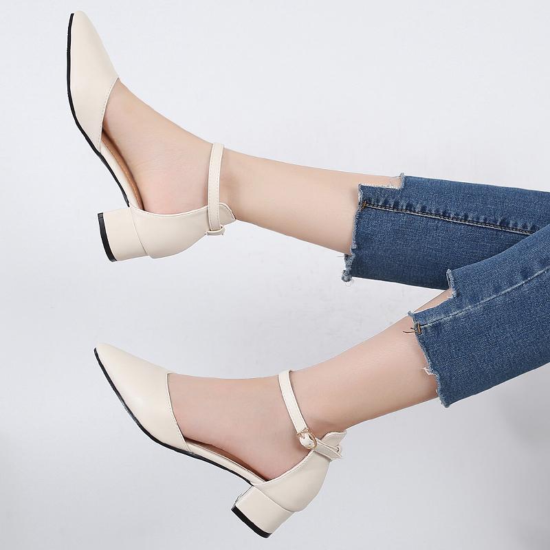 2019新款夏季包头仙女女单鞋风中跟百搭凉鞋女鞋鞋子粗跟高跟尖头