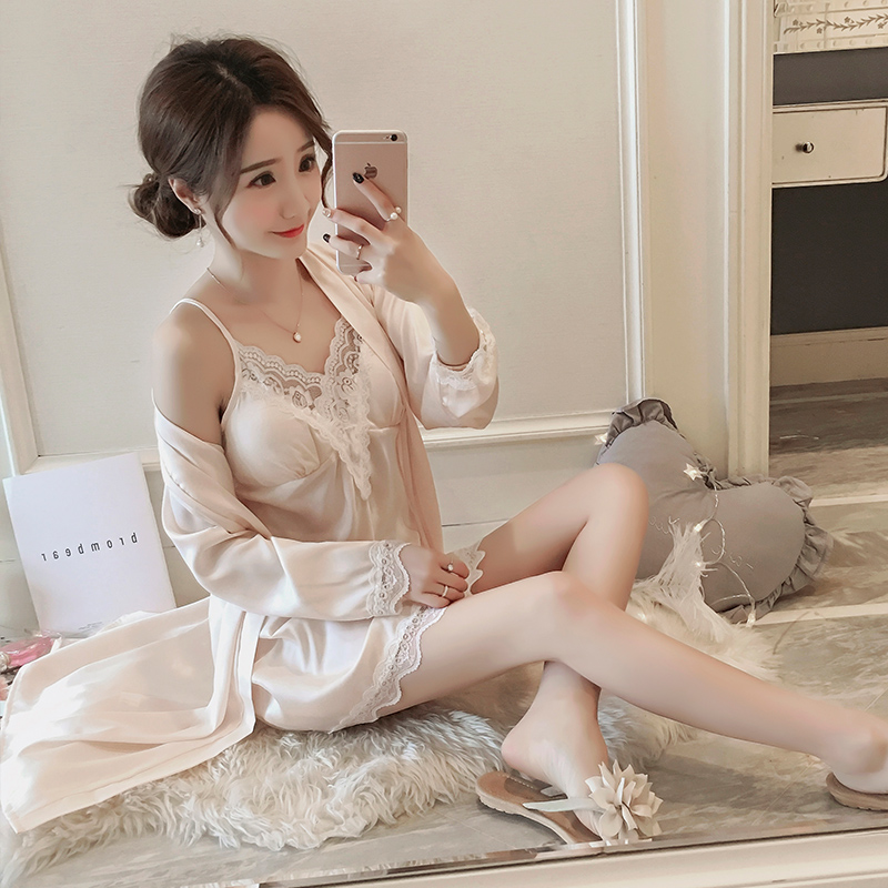 e283ad619 Summer sexy pajamas women summer ice silk suspenders nightdress silk chest  pad nightgown lace two-. Zoom · lightbox moreview · lightbox moreview ...