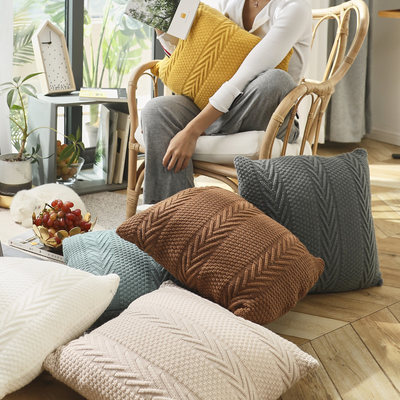 Knitted northern European woolen woven sofa decorative pillow waist pad floor coat photography decorative party pillow pillow