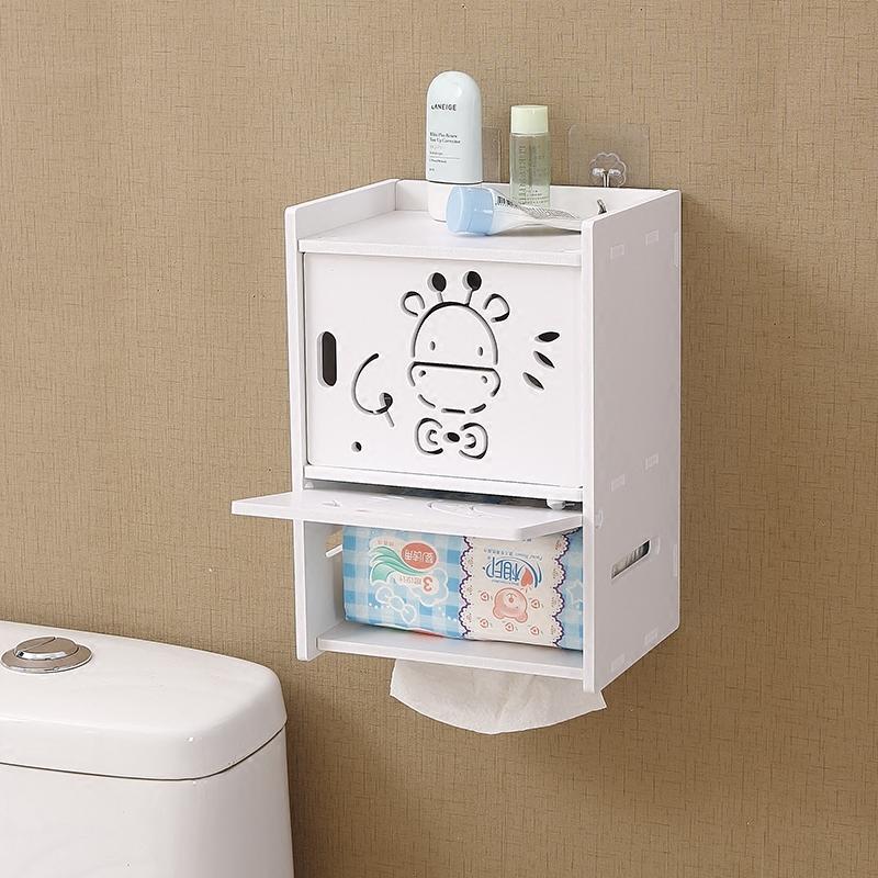 卫生间卷纸盒厕纸盒创意卷纸抽纸筒挂壁式收纳盒免打孔厕所纸巾盒