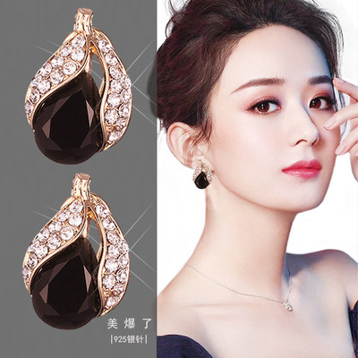 Zhao Liying the same new hypoallergenic small fresh candy earrings female wild cute color crystal ball earrings