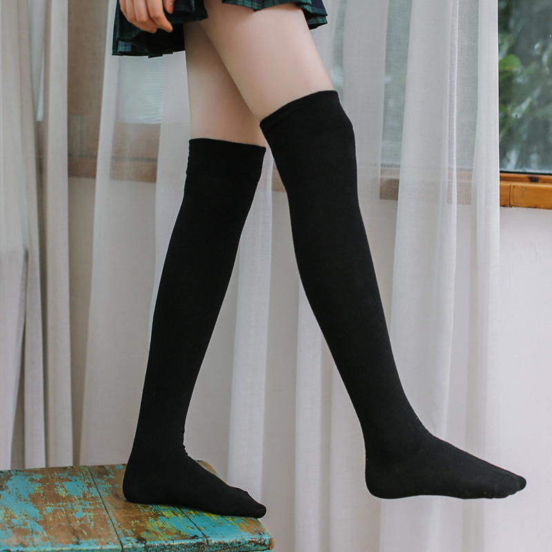 bcc81508b3c Knee socks female spring and summer cotton Korean Japanese half-length  stockings college wind solid color wild stockings female tide ins