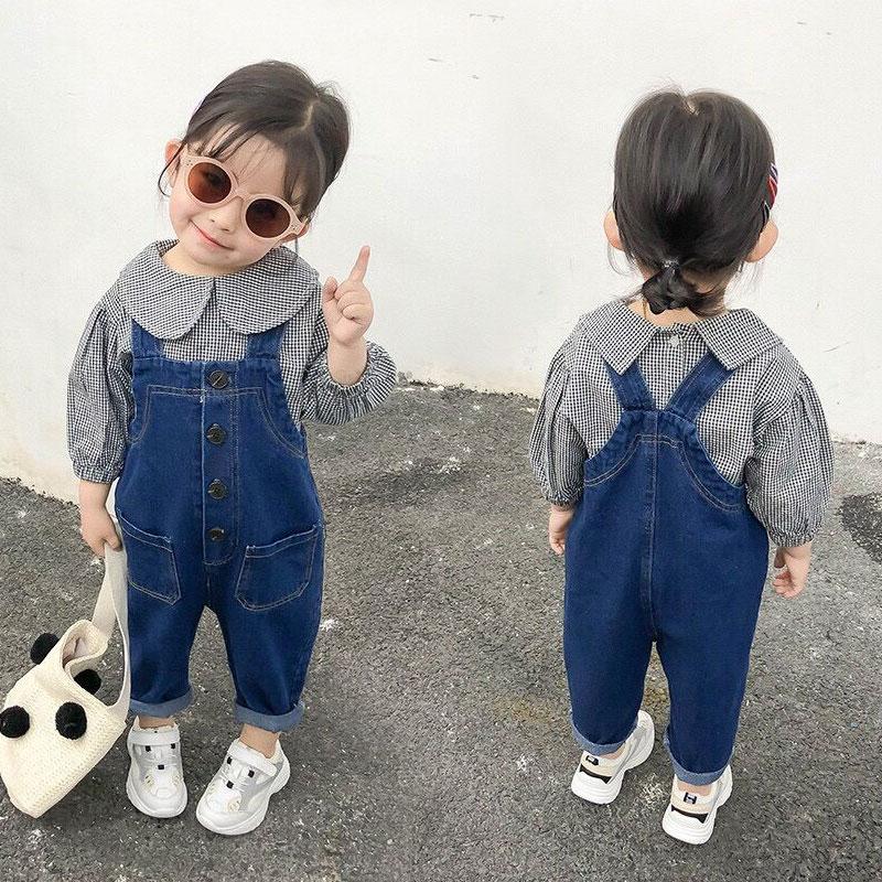 春装宝宝背带裤儿童牛仔背带裤男女童小孩条绒休闲长裤宽松可开裆