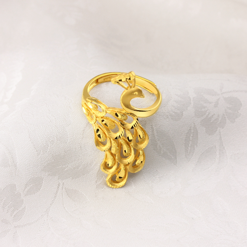 Sega jewelry gold ring women gold peacock Mann dance of the Golden ...