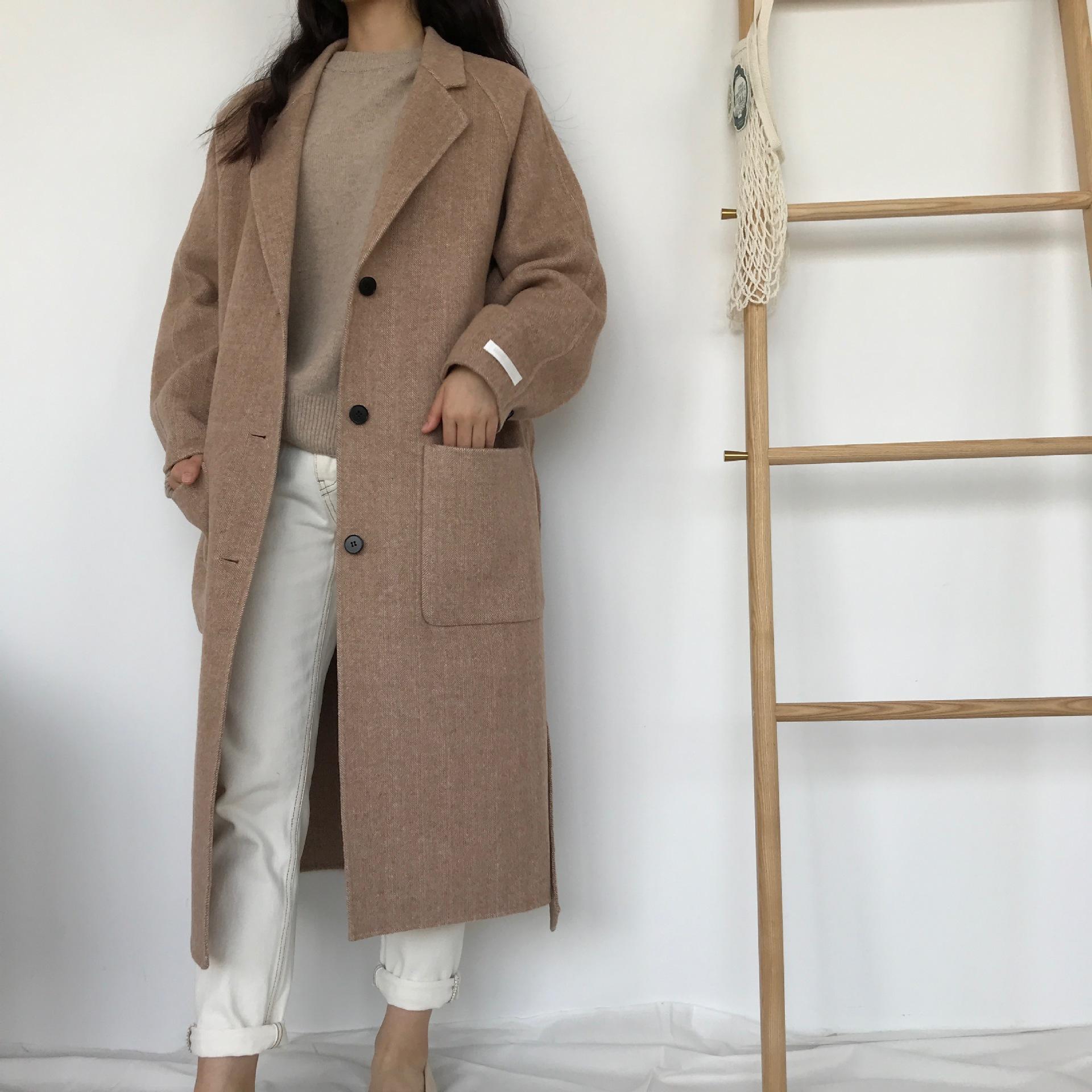 特价不退换18年洋气条纹韩国进口面料双面手缝羊毛羊绒大衣