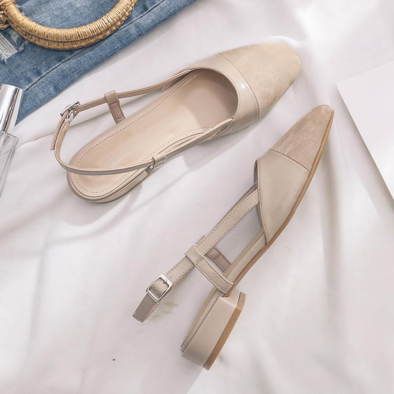2020夏季新款包头低跟凉鞋女凉鞋风粗跟方头仙女后空平底罗马单鞋