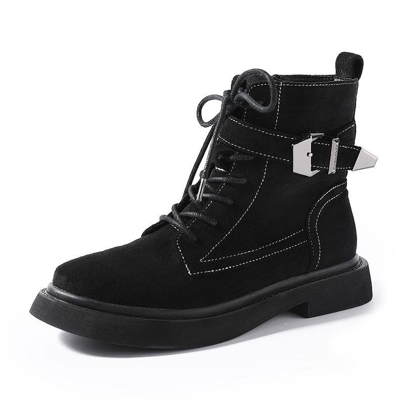 2018新款平底复古系带马丁靴女冬加绒高帮英伦风机车靴低跟短靴潮
