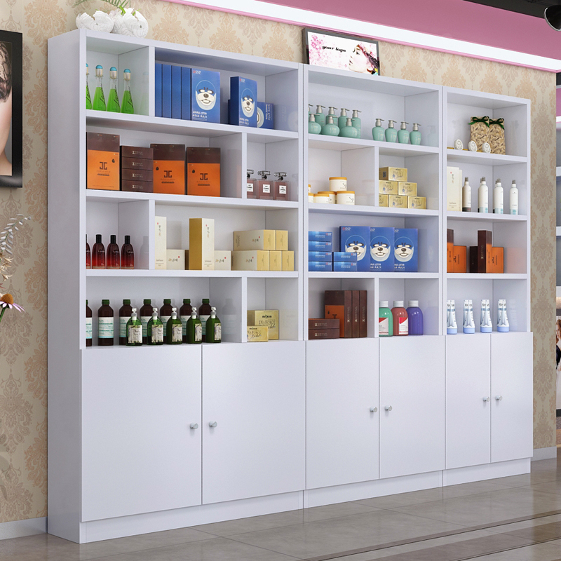 Boutique Container Multi Layer Door Display Rack Beauty Shop Showcase  Barber Shop Showcase Shelf Cosmetics Display Cabinet