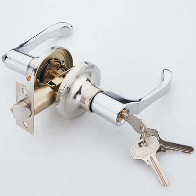 Bathroom door lock toilet three rod Hand lock indoor bathroom kitchen toilet single tongue office hardware lock