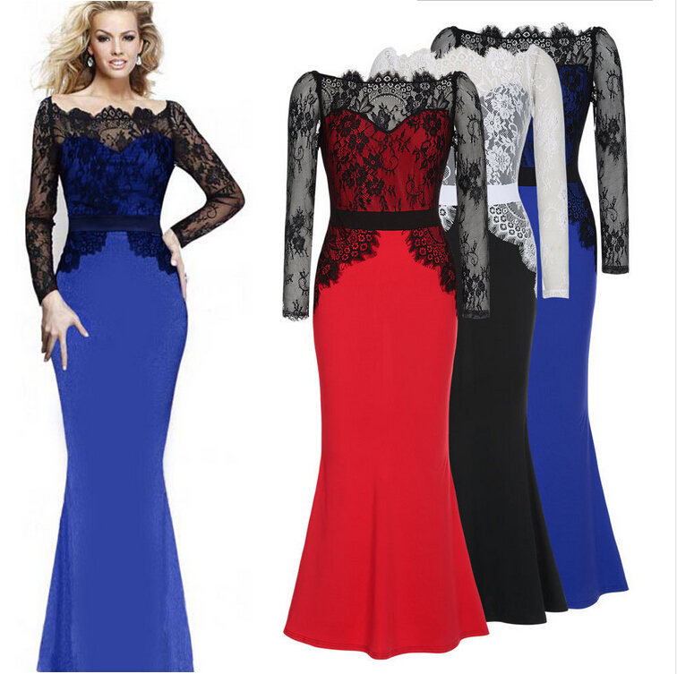 New elegant lace long dress party long dress long sleeve hollow out