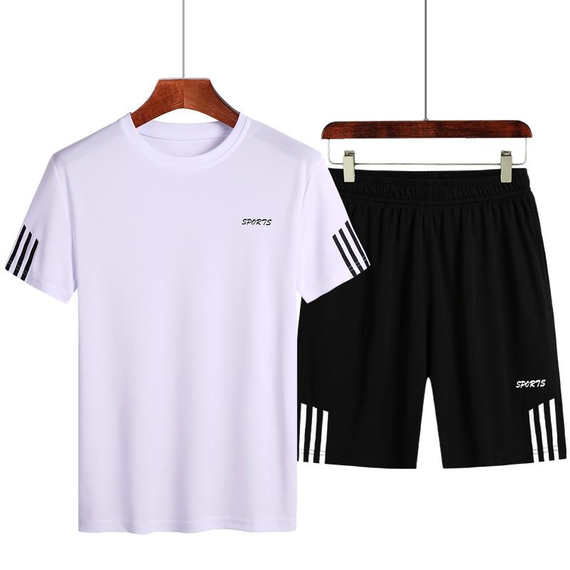 夏季速干运动圆领衣服上衣短袖t恤男士半袖套装青年休闲爸爸套装